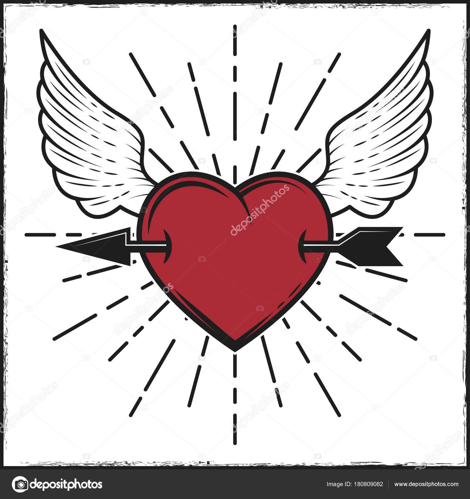 Pfeil im Herzen und Flügel farbig drucken mit Strahlen. Vektor ...