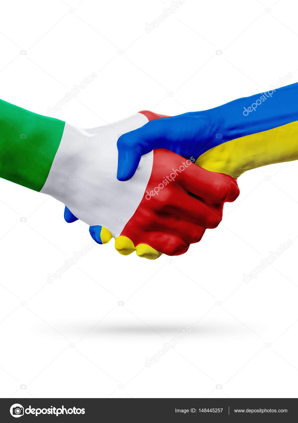 Ban Re Italia Ucraina Paesi Concetto Di Partnership Amicizia Stretta Di Mano Foto Stock
