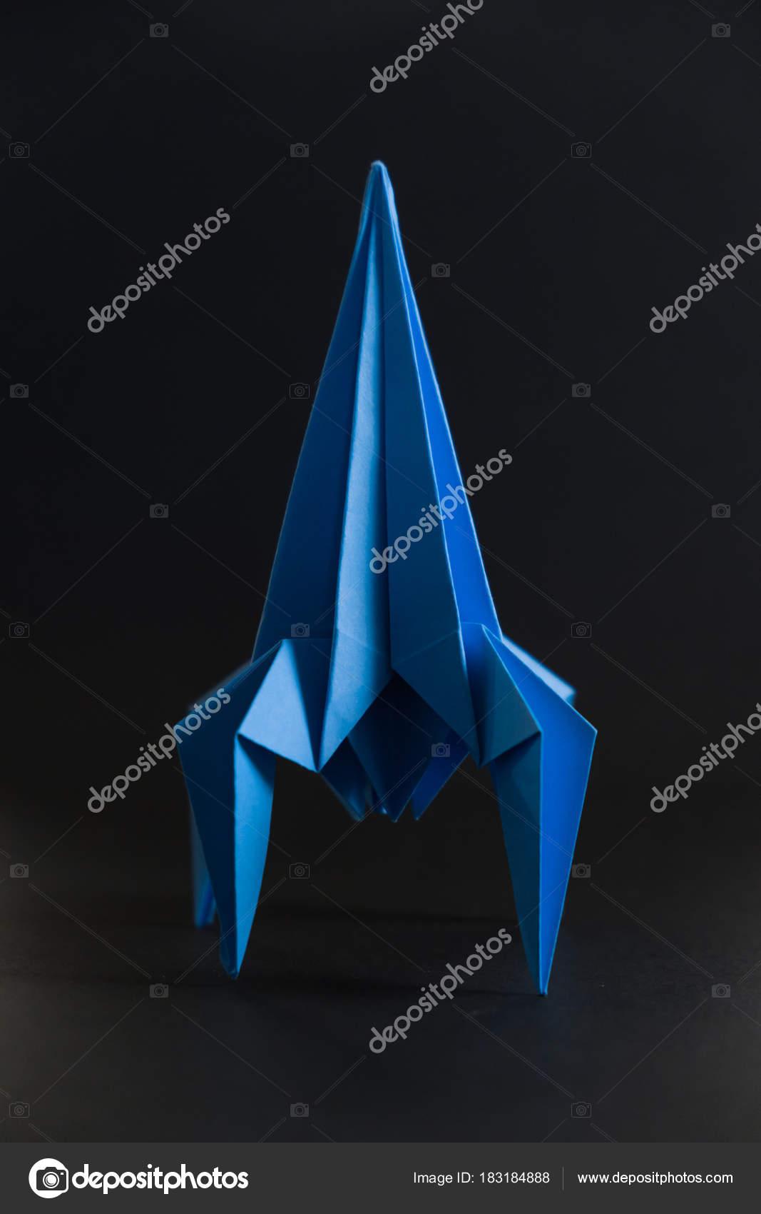 Paper Homemade Origami Rocket Stock Photo