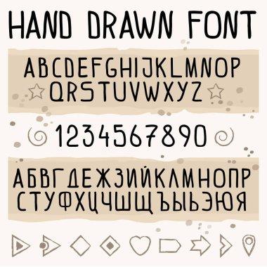 Hand drawn font with latin and cyrillic symbols