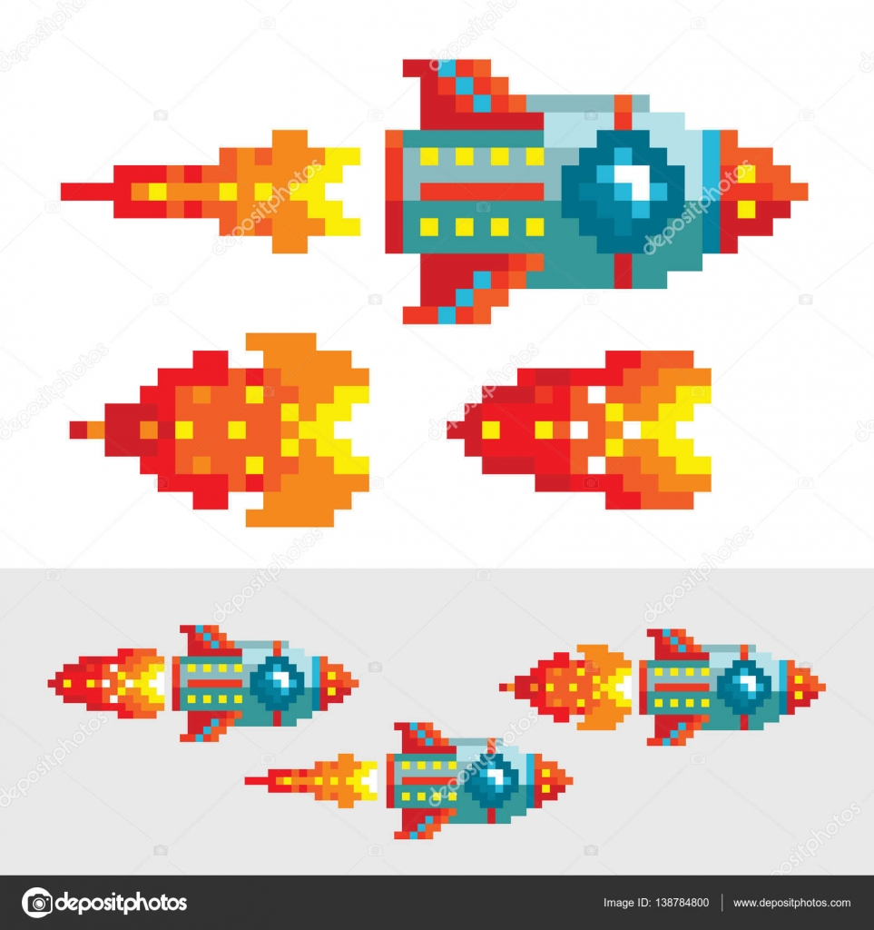 Pixel Rocket With Flame. Different Phases Of Pixel Flame