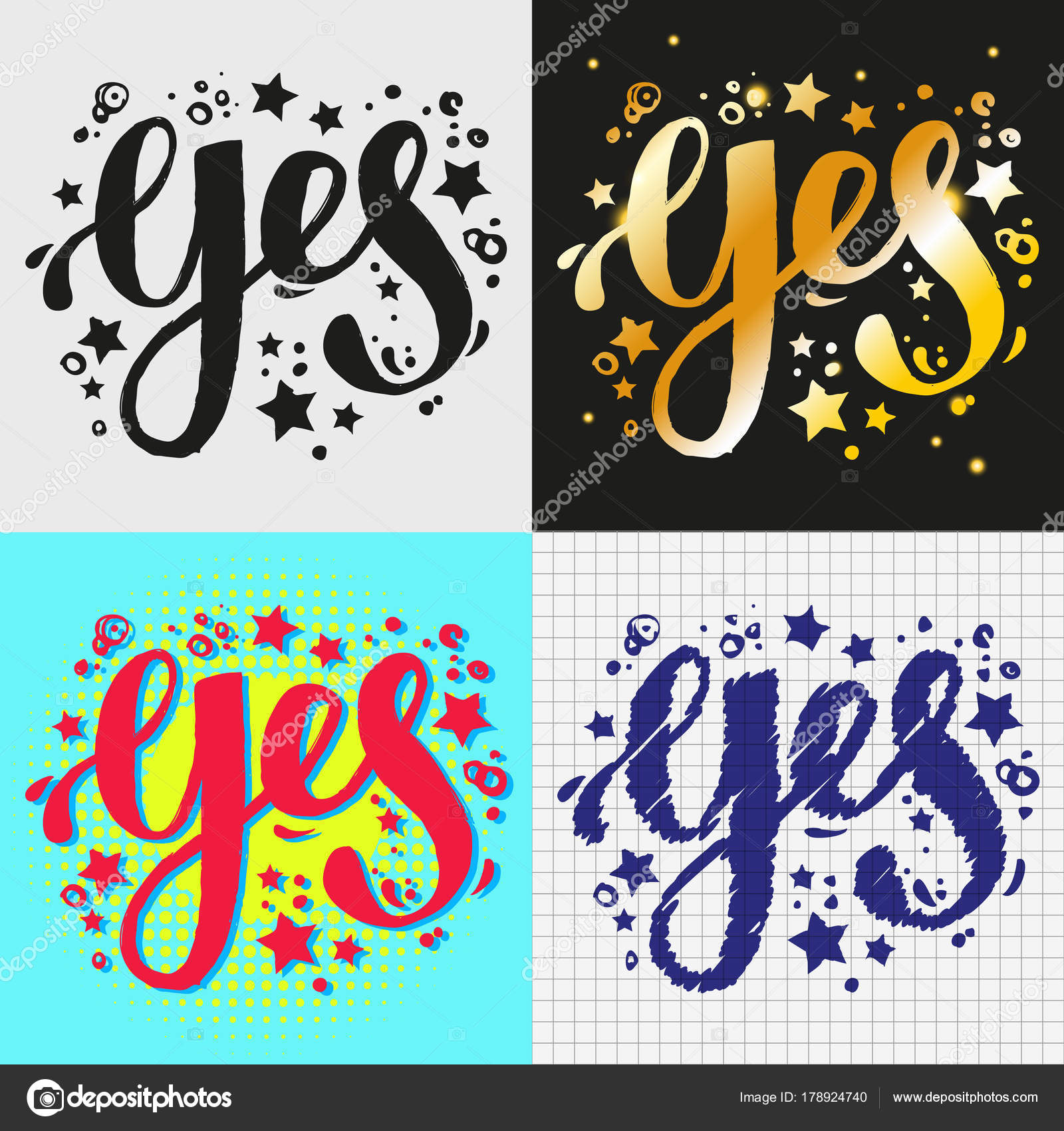 Yes Hand Brush Lettering Four Different Designs Word Styles Stock Vector