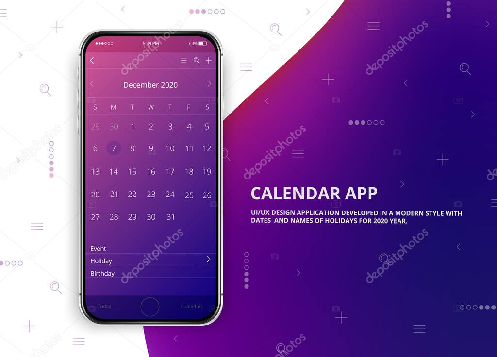 User Interface Design Mobile Calendar App Phone App Calendar 2020 Year Names And Dates Of Holidays For 2020 Year Isolated Phone Mockup December Calendar Premium Vector In Adobe Illustrator Ai