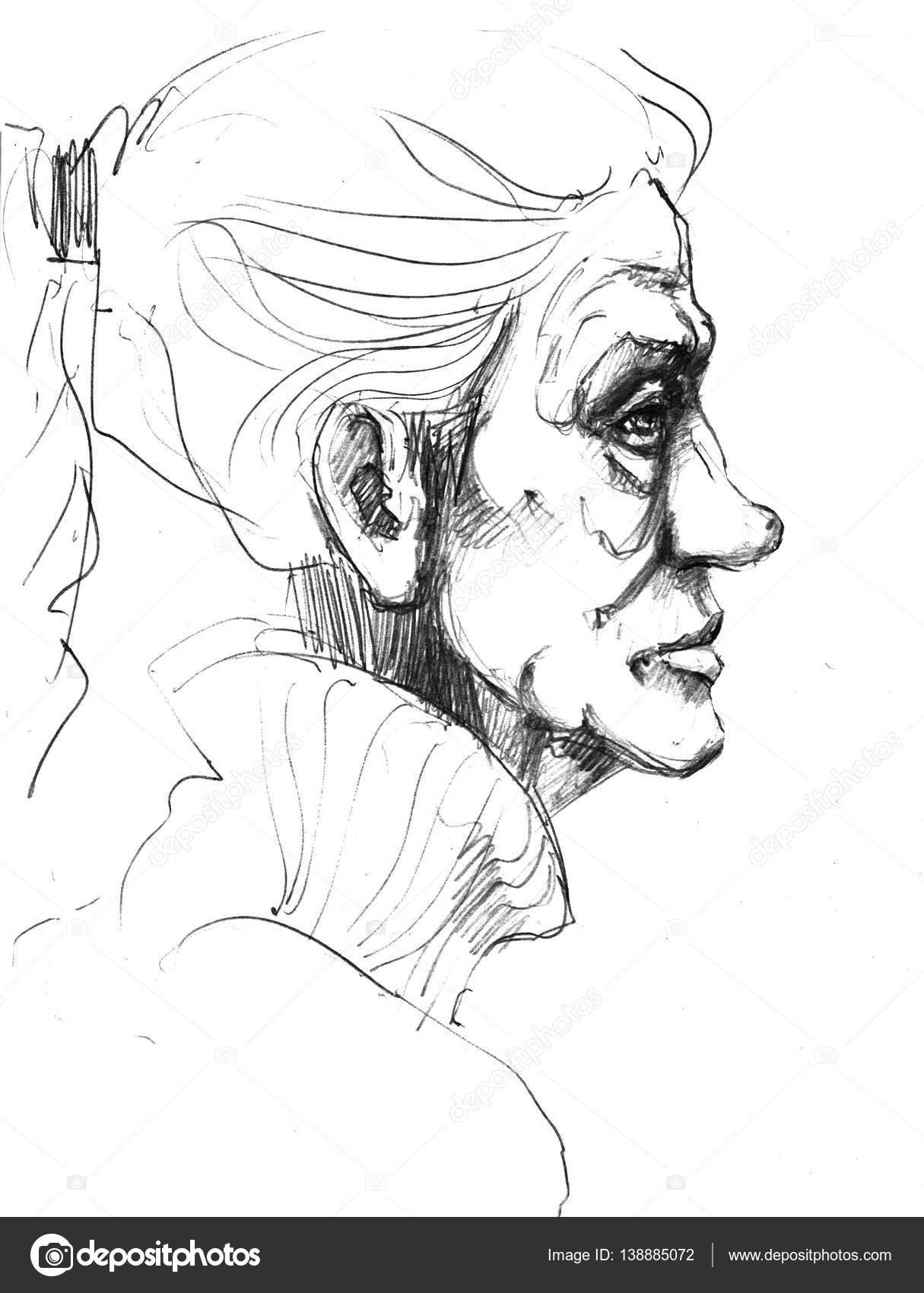 Disegni Di Persone Anziane.Immagini Donna Anziana Disegno Immagine Disegnata A Mano