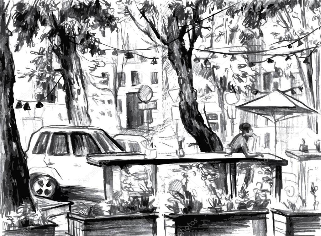 City landscape. Made by ink on paper.