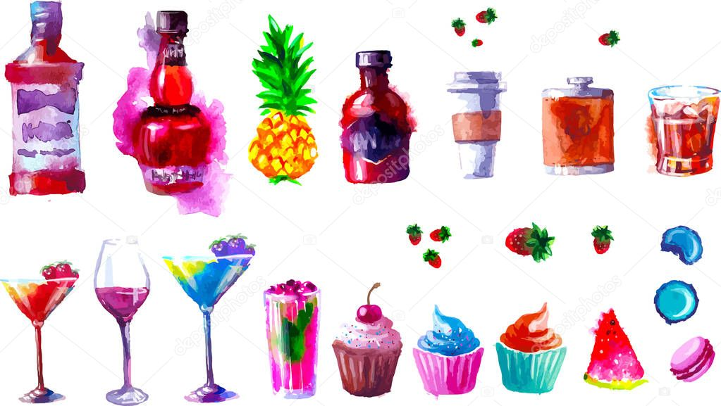 Vector alcohol and sweets. watercolor