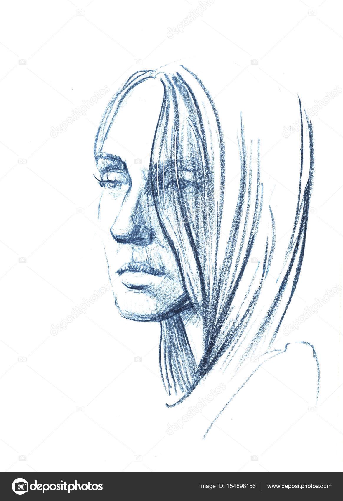 Mulher de ilustrações desenhadas de mão desenho à mão livre retrato feminino foto de design anyagmail com