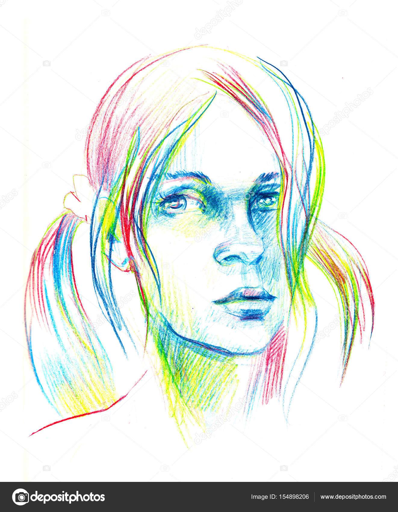 Mulher de ilustrações desenhadas de mão desenho à mão livre retrato feminino fotografia por design anyagmail com
