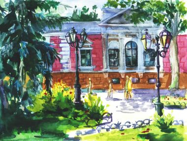 watercolor landscape of Odessa, Ukraine, scenery town on watercolor paper texture background.