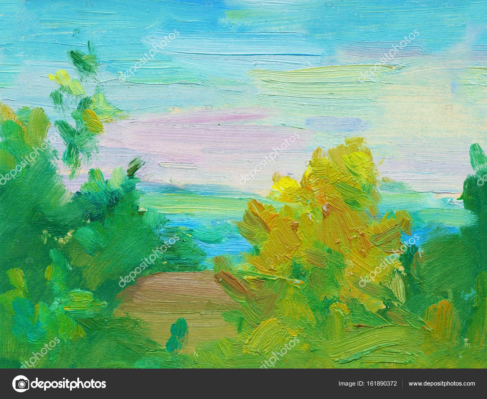 Dipinto ad olio paesaggio astratto. Pittura a olio del mare e ...