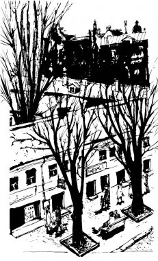 Vector Hand drawn City Sketch for your design. Over view artistic picture of Odessa. Ukraine
