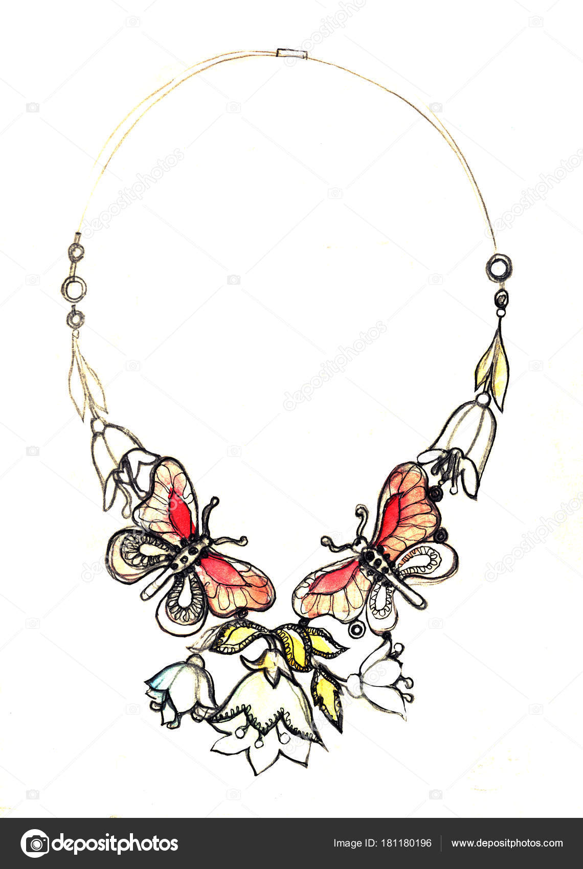 Watercolor Jewelry Illustration Necklace Fashion Sketch Jewelry