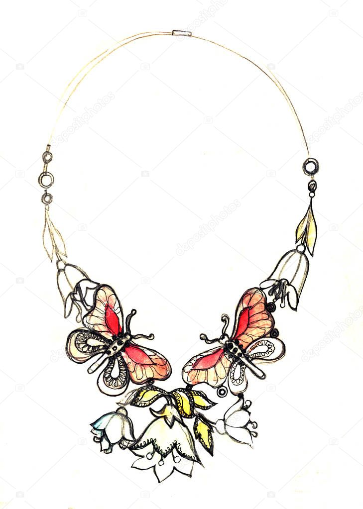 watercolor jewelry illustration, necklace fashion sketch, Jewelry Design butterfly vintage necklace. Hand drawing and painting on paper.