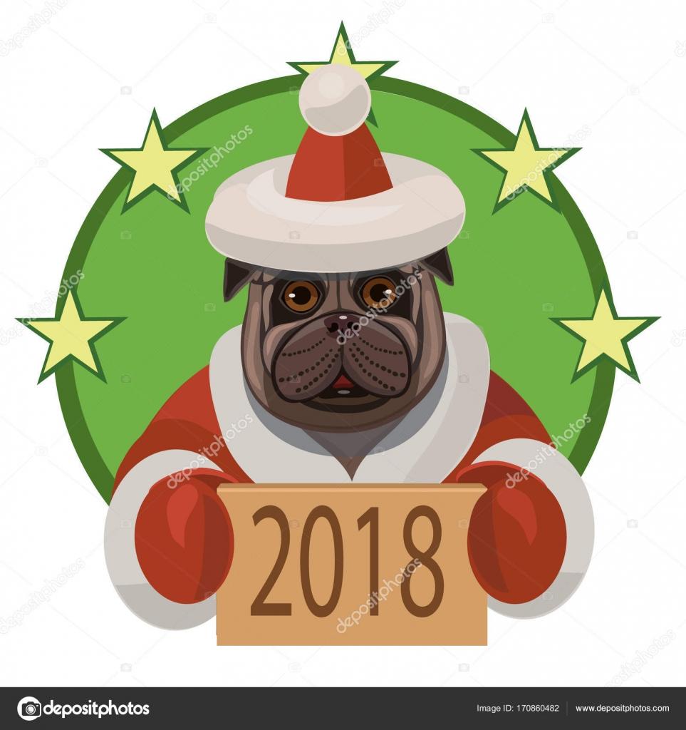 Hund Mops frohes neues Jahr 2018 — Stockvektor © arefan7 #170860482