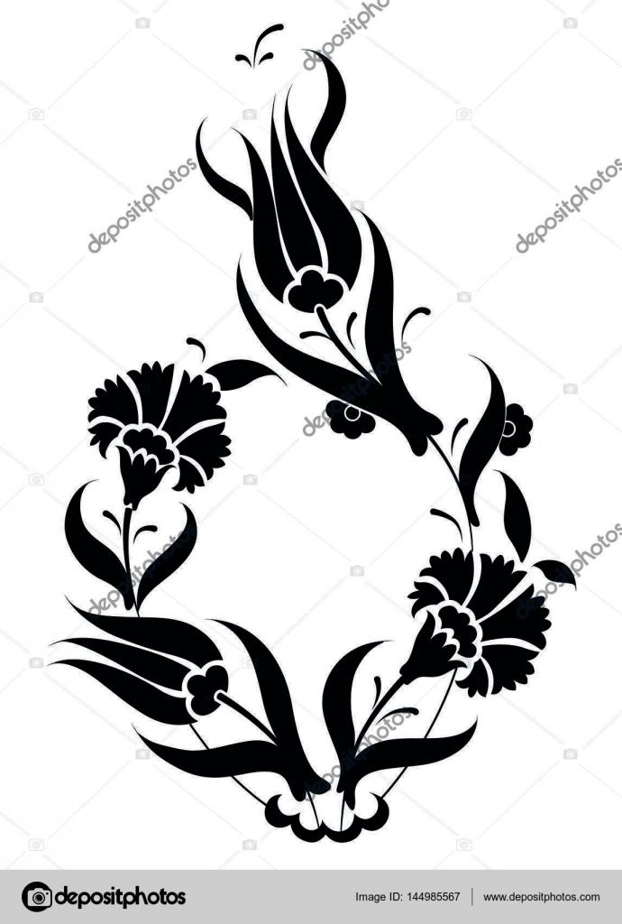 Motif Carreaux Ottomane Design Ceramique Turque Tulipes Et Oeillet