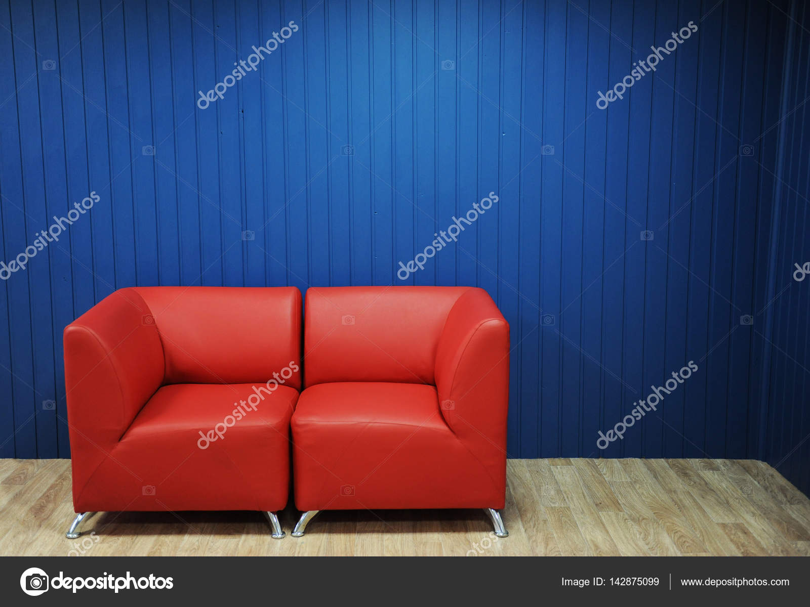 Super Red Leather Sofa On A Background Of Blue Walls Texture For Ibusinesslaw Wood Chair Design Ideas Ibusinesslaworg