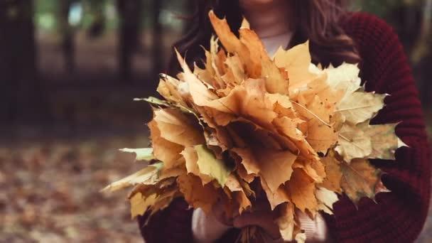 Banda žluté listí v rukou ženy. Podzimní park