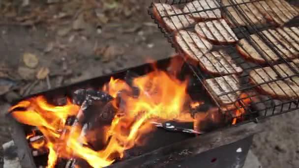 Grilování s chlebem grilování na větvičky