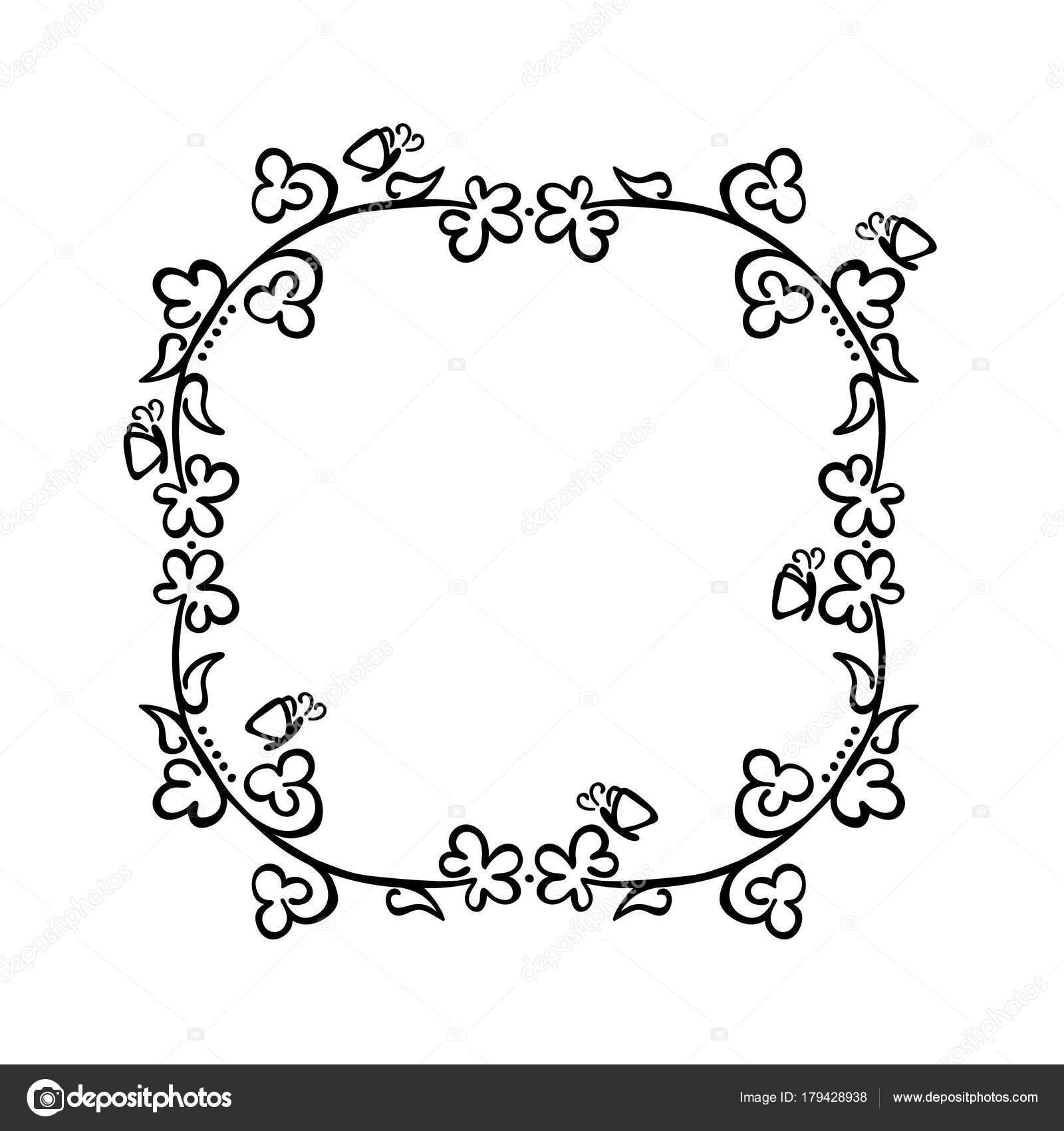 Quadro Flores Borboletas Preto Branco Desenho Objeto Vetor