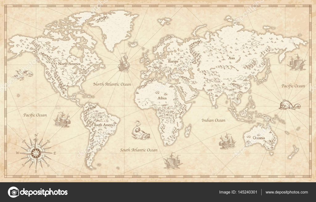 Vintage illustrated world map stock vector pingebat 145240301 great detail illustration of the world map in vintage style with mountains trees cities and main rivers on a old parchment background gumiabroncs Images