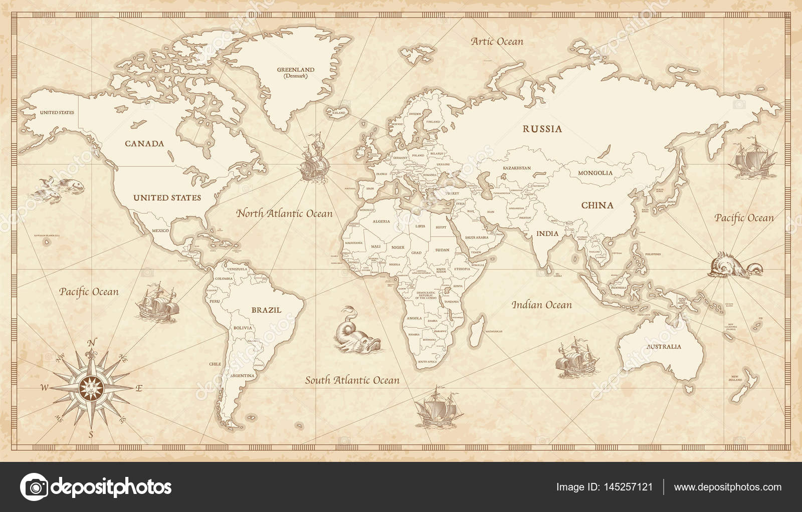 Vintage illustrated world map stock vector pingebat 145257121 great detail illustration of the world map in vintage style with all countries boundaries and names on a old parchment background vector by pingebat gumiabroncs Gallery