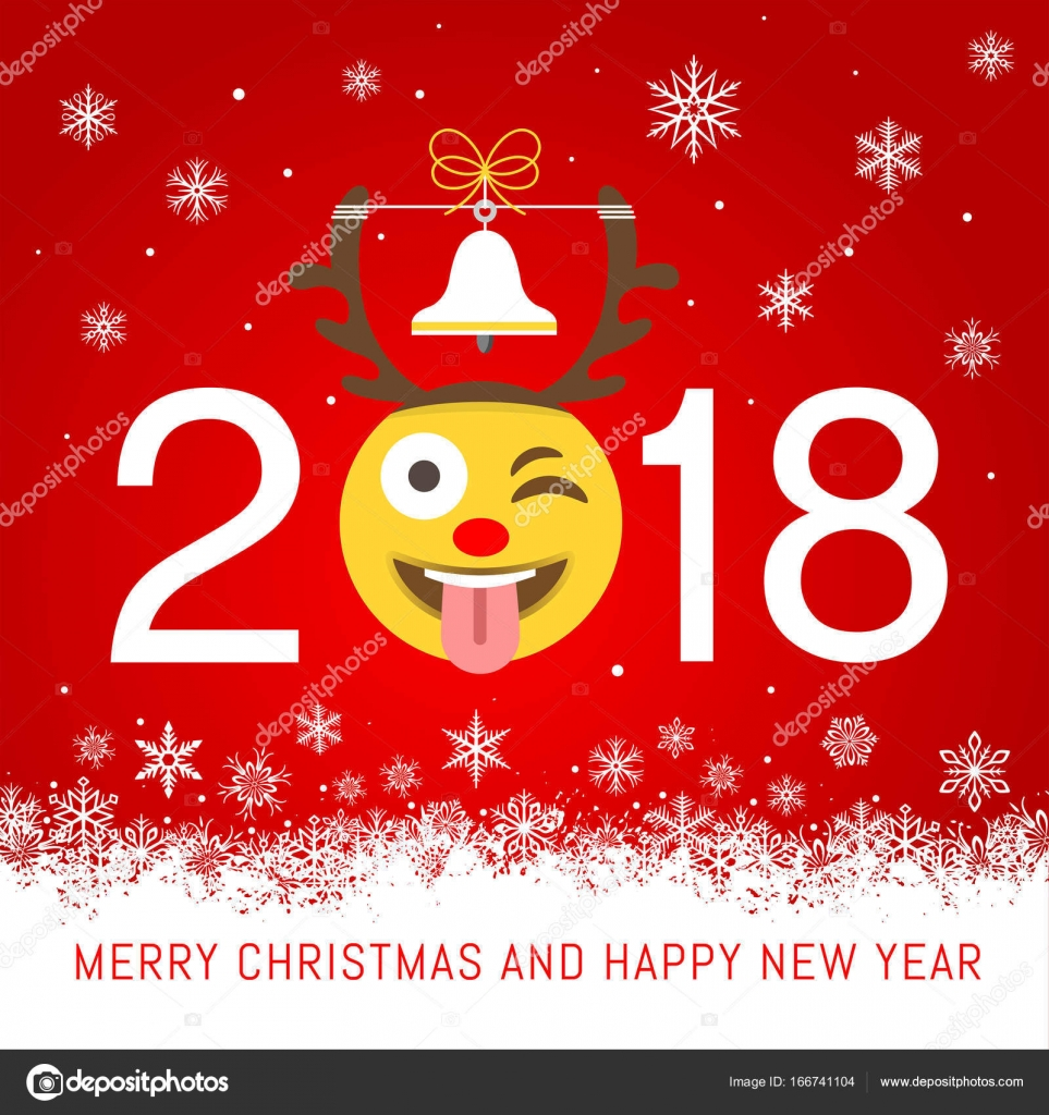 New year 2018 vector greeting card stock vector pingebat 166741104 a cartoonish vector illustration for a 2018 new year best wishes greeting card with an emoji with a reindeer hat in place of 2018 zero vector by pingebat kristyandbryce Image collections