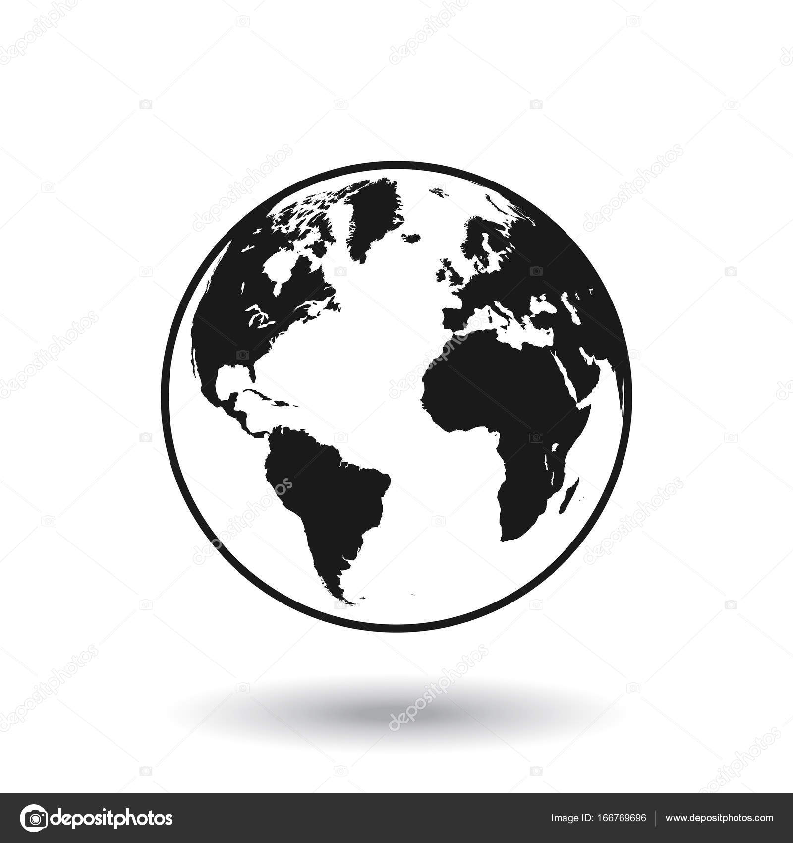 detailed black world map mapped on a globe isolated on white background vector by pingebat