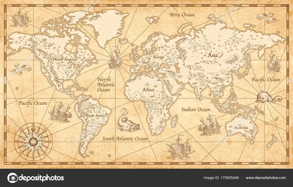 Vintage illustrated world map stock vector pingebat 170925446 vintage illustrated world map stock vector gumiabroncs Image collections