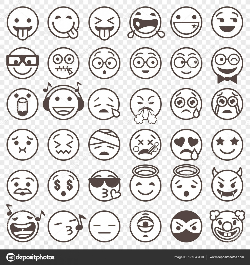 Outlined black and white emoji set 2 stock vector pingebat big set of 36 high quality vector cartoonish emoticons in outlined black and white design style vector by pingebat buycottarizona Images