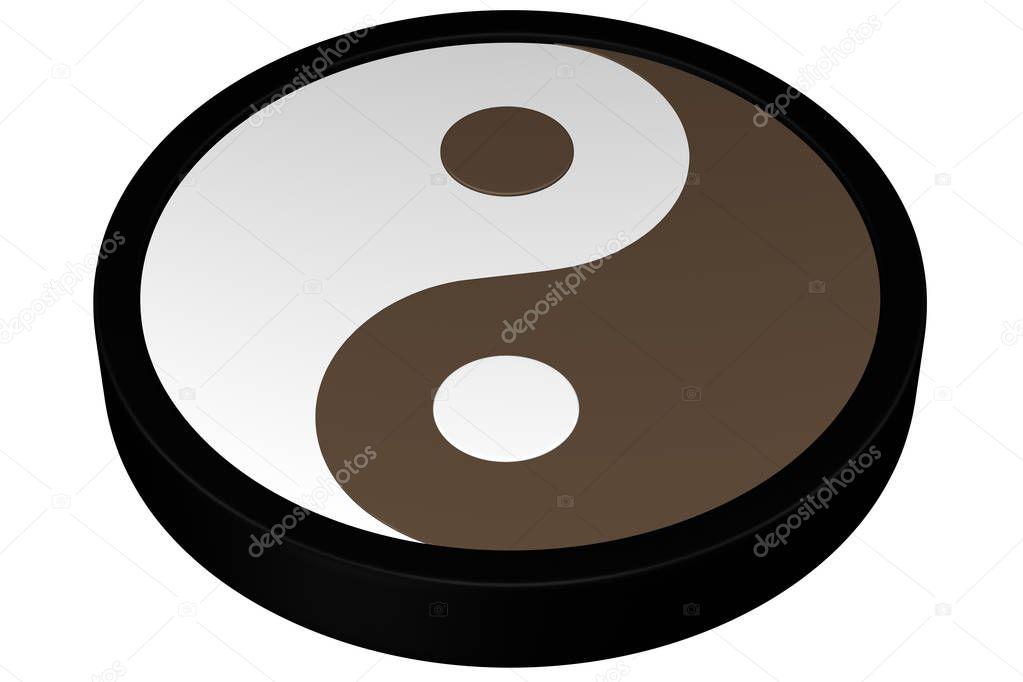 Yin Yang Symbol 3d Rendering Stock Photo Arudolf 129659188