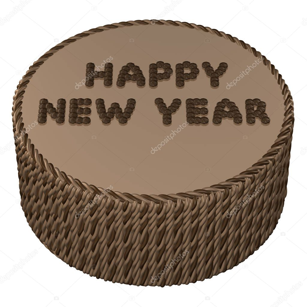 round chocolate cream with words happy new year 3d rendering stock photo