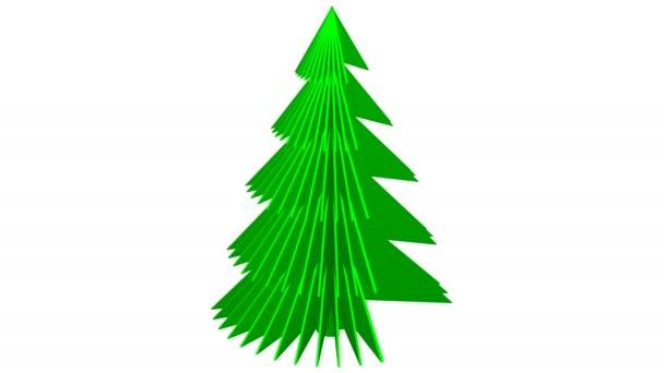 Plochá zelená kniha vánoční stromeček otočit a vytváření 3d papírové vánoční strom. Loopable. Luma matný. 3D vykreslování.