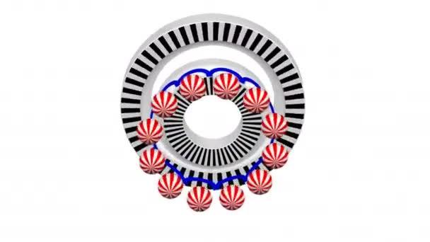 Konstruktion eines Kugellagers. Teile eines Kugellagers in einem Schnitt drehen sich um. luma matt. 3D-Darstellung.