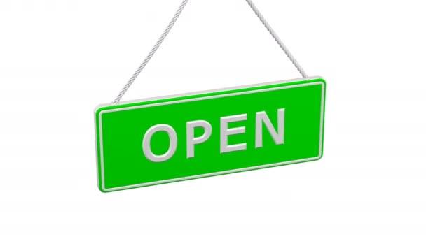 Deska s slovy Open a Closed otočit. Loopable. Luma matný. 3D vykreslování.