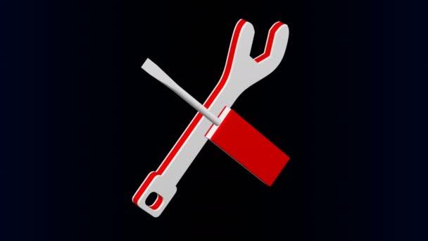 Javítási logo - csavarhúzó és csavarkulcs megfordul. Loopable. Luma Matt. 3D-leképezés.
