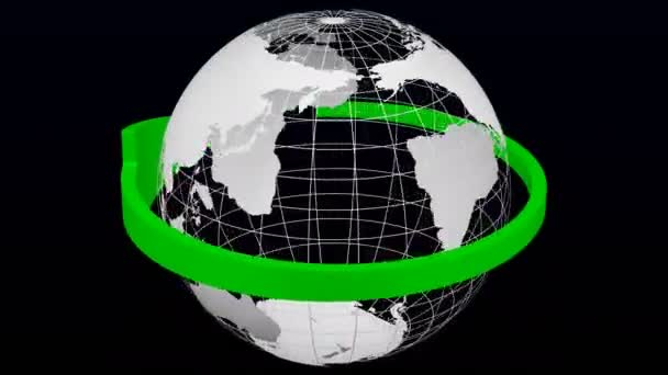 Green arrow rotate around transparent model of Planet Earth on black and dark blue background. Loopable. Luma matte. 3D rendering.