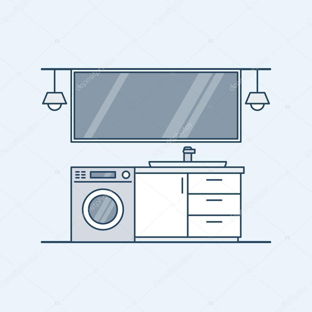 Modernes Interieur ein Badezimmer mit Waschmaschine und Waschbecken ...