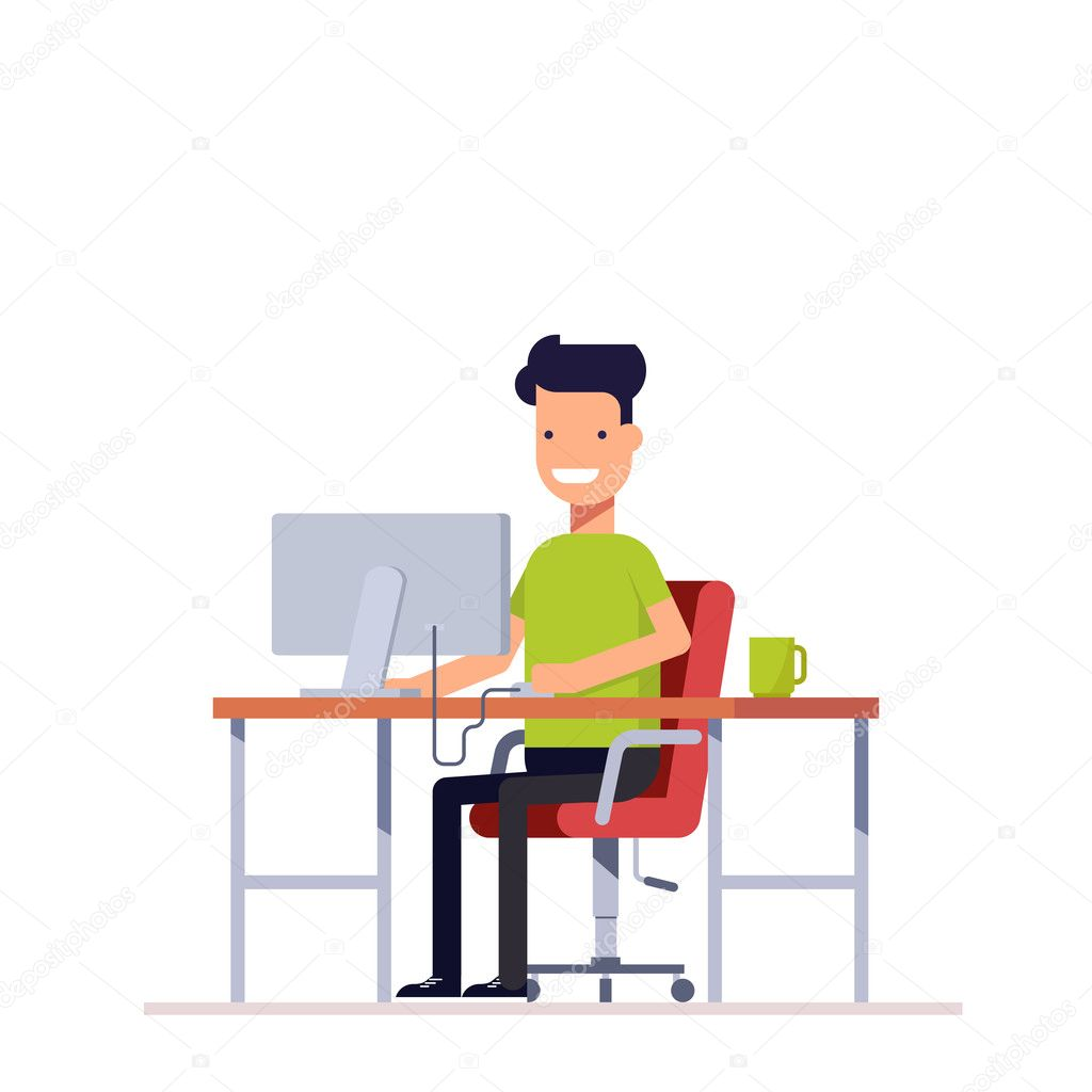 Young Employee Working At The Computer Programmer Or Freelancer