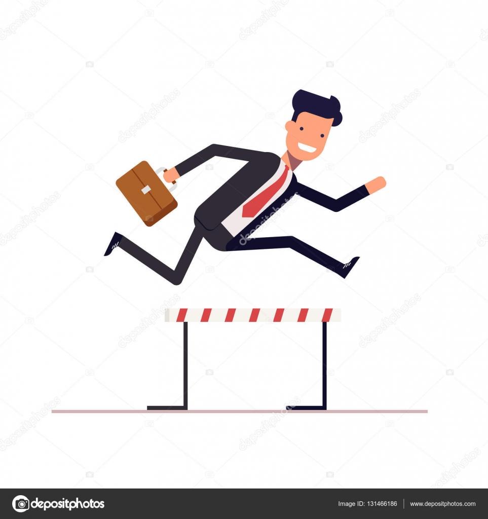 Empresario o gerente ejecuta en carrera de obstáculos con un maletín ...