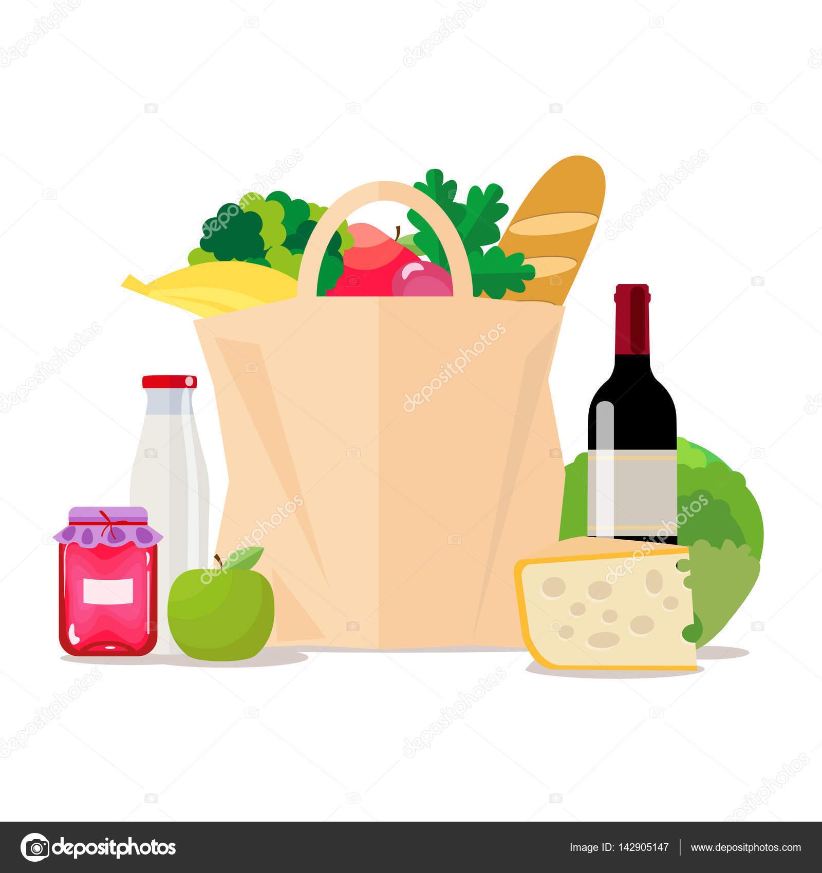 e0244bd5873 Bolsa de papel con los alimentos. De compras en el supermercado o tienda de  comestibles. Un conjunto de alimentos saludables. Vegetales y frutas