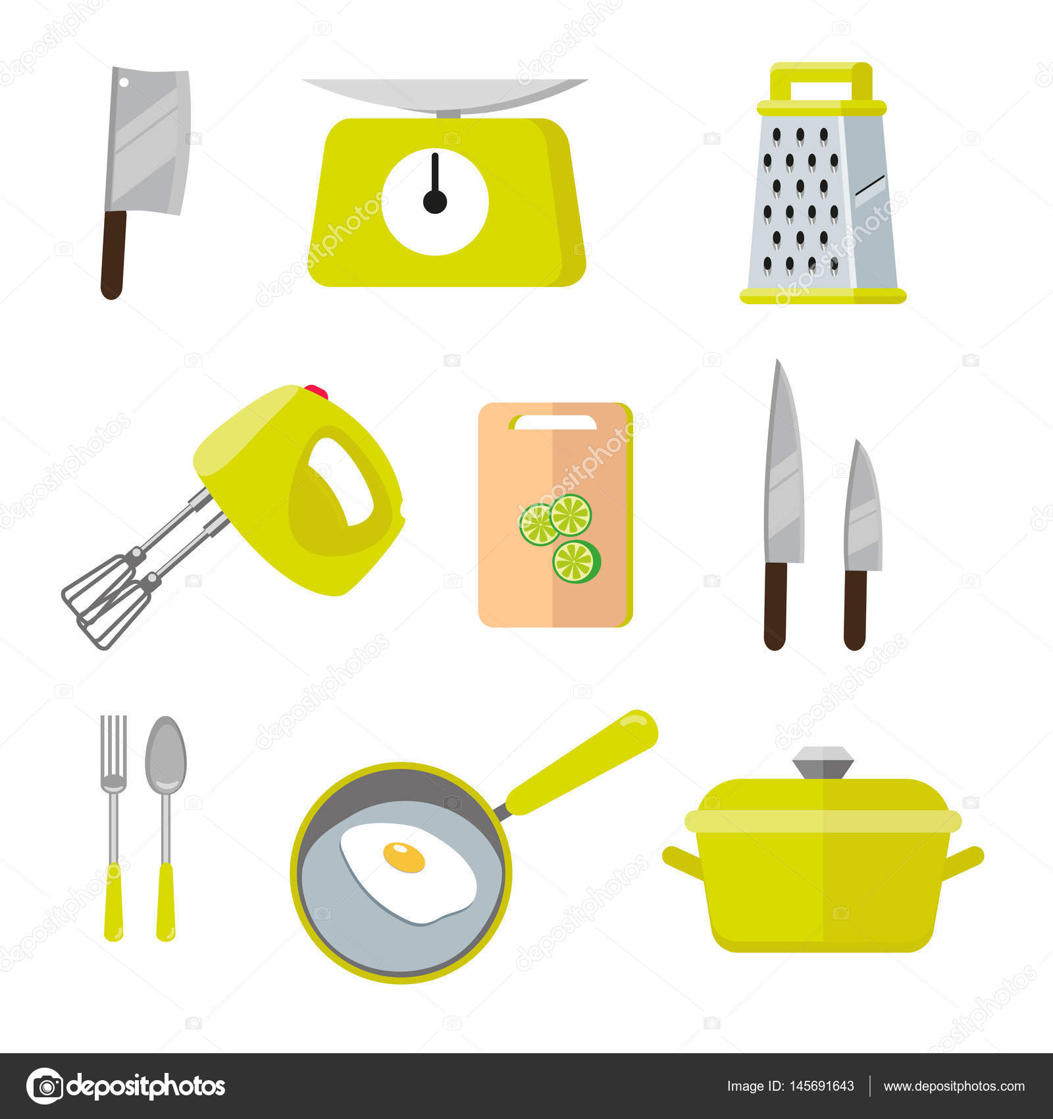 Vintage Bunten Kuchenhelfer Satz Von Werkzeugen Fur Das Kochen
