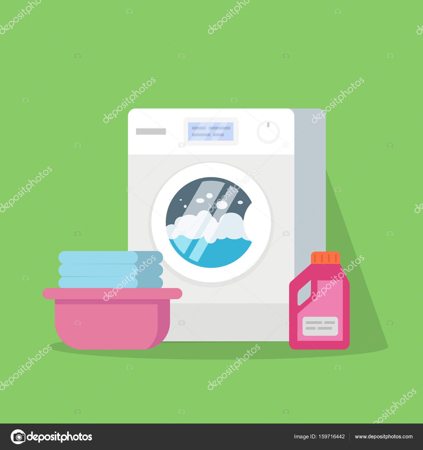 Wasmachine Met Water En Schuim Een Bassin Met Schoon Linnen Poeder