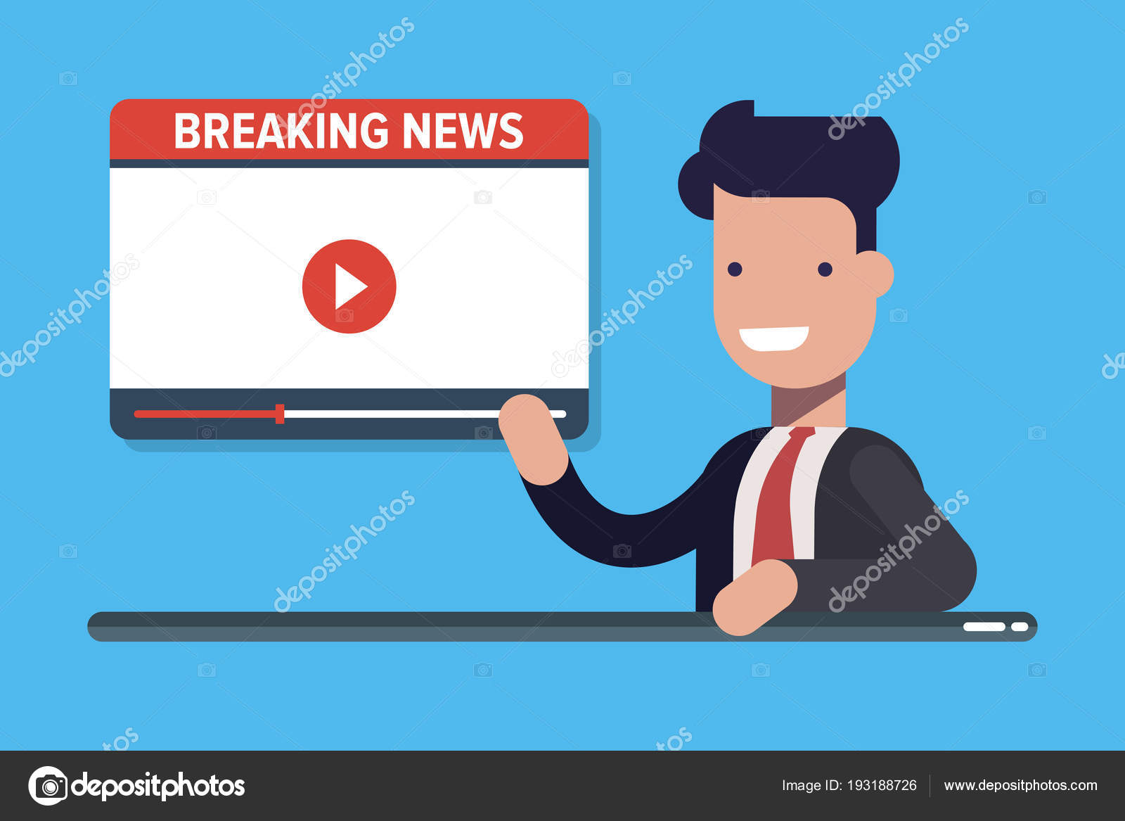 Television Reporter Telling Breaking News At His Studio Desk With Copy Space Concept Cartoon Flat Vector Illusration Isolated On Blue Background