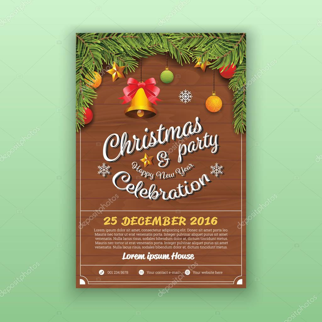 christmas happy new year party flyer template stock vector