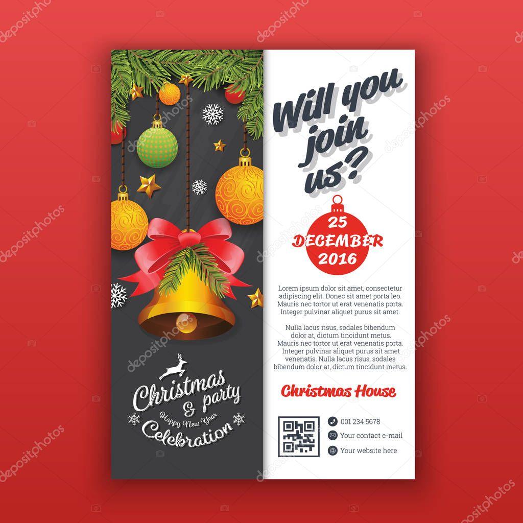 Plantilla de cartel partido de Navidad con bolas de realista y ...