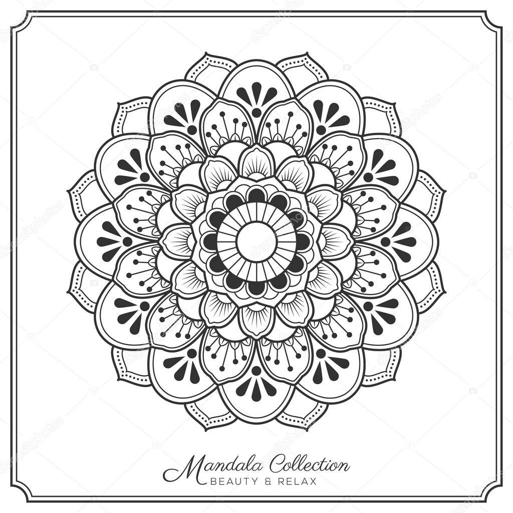 38 Colored Mandala Tattoos Collection: ストックベクター © Raftel #129753536