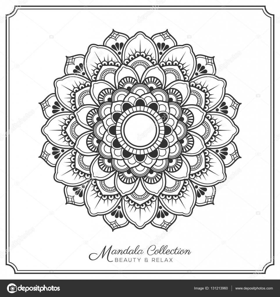 Diseño Del Tatuaje Y El Ornamento Decorativo De Mandala Archivo