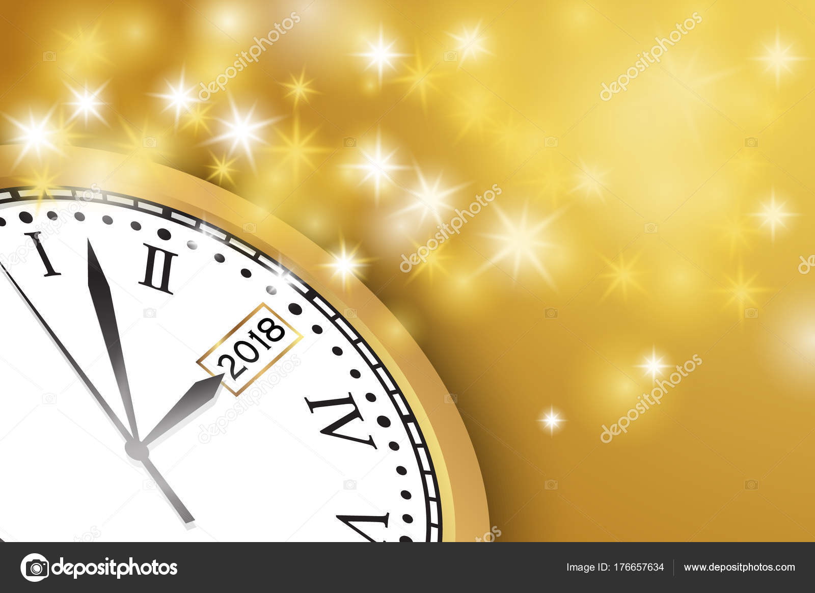 happy new year 2018 background with clock and snowflake stock vector