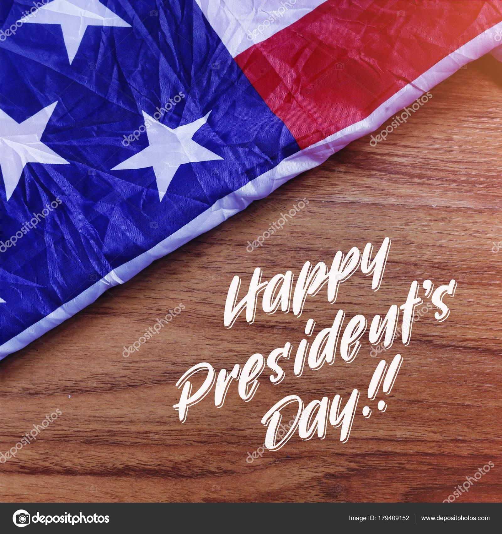 Glücklich Präsidenten Tag Typografie mit Usa-Flagge-Szene. Foto ...