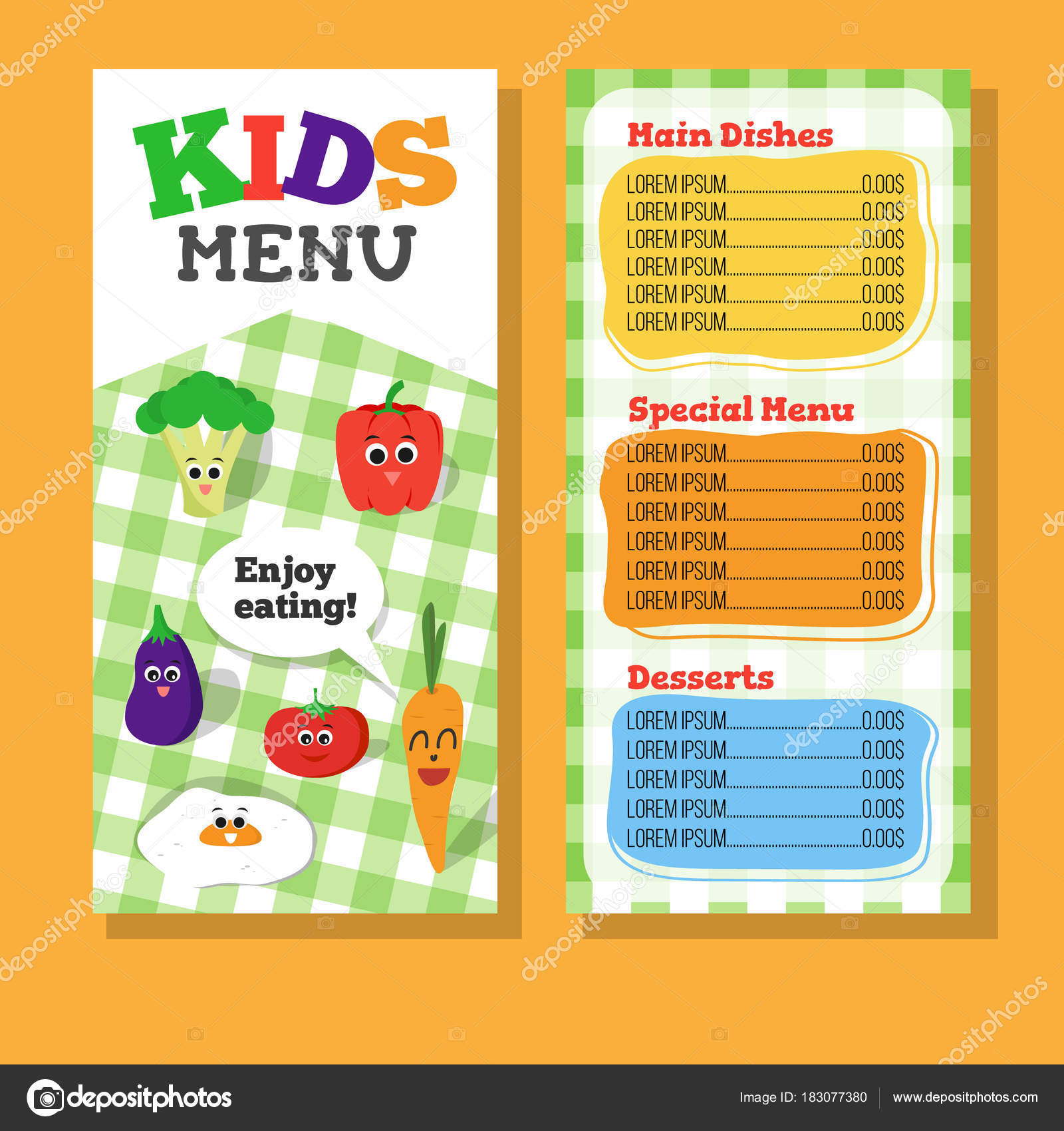 2 pages kids menu design with vegetable for restaurant stock